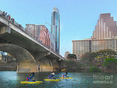 Photograph - Image Included In Queen The Novel - Austin Bridge Boats Enhanced by Felipe Adan Lerma
