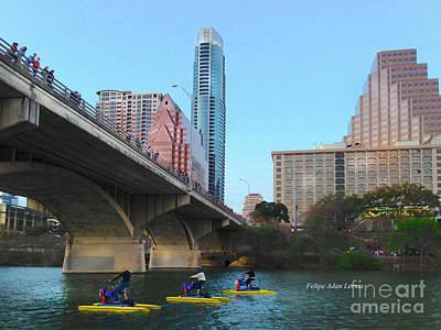 Photograph - Image Included In Queen The Novel - Austin Bridge Boats by Felipe Adan Lerma
