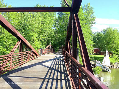 Rights Managed Images Photograph - Image Included In Queen The Novel - Bike Path Bridge Over Winooski River With Sailboat 22of74 Enhanc by Felipe Adan Lerma