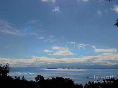 Photograph - Image Included In Queen The Novel - Motorboat Island Mountains And Lake Enhanced by Felipe Adan Lerma