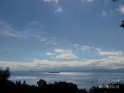 Photograph - Image Included In Queen The Novel - Motorboat Island Mountains And Lake by Felipe Adan Lerma