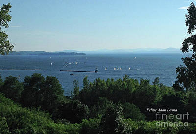 Photograph - Image Included In Queen The Novel - Sailboats By Lake Champlain Lighthouse Enhanced by Felipe Adan Lerma