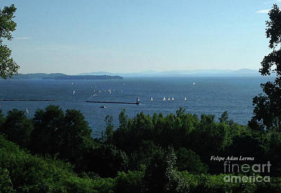Photograph - Image Included In Queen The Novel - Sailboats By Lake Champlain Lighthouse by Felipe Adan Lerma