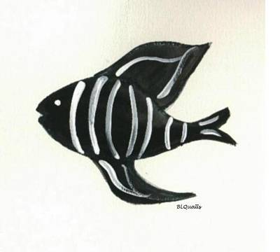 Painting - Imaginary  Black And White Fish by B L Qualls