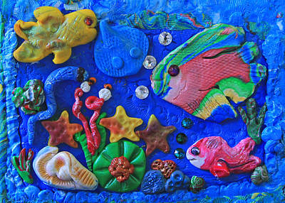 Imaginary Worlds Mixed Media - Polymer Clay Sea World by Donna Haggerty
