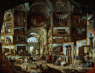 Imaginary Gallery Of Views Of Ancient Rome Art Print by Giovanni Paolo Pannini