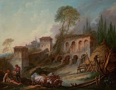 Townscape Painting - Imaginary Landscape With The Palatine Hill From Campo Vaccino by Francois Boucher