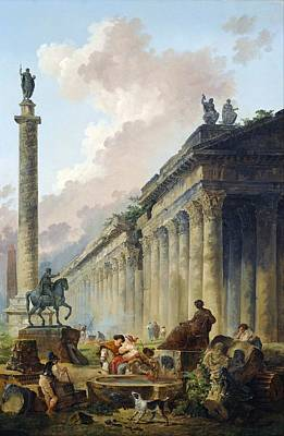 Imaginary View Of Rome With Equestrian Statue Of Marcus Aurelius - The Column Of Trajan And A Temple Art Print