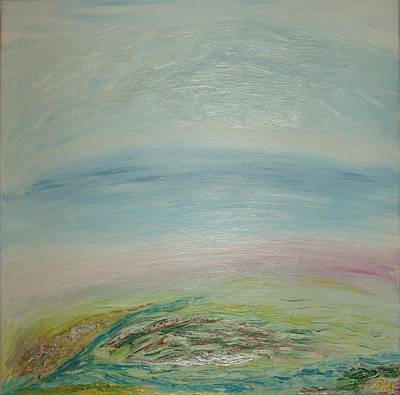 Painting - Imagination 7. Landscape. Three Dimensions. View From The Sky. by Bennu