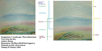 Painting - Imagination 7. Landscape. Three Dimensions. View From The Sky. by Bennu Bennu