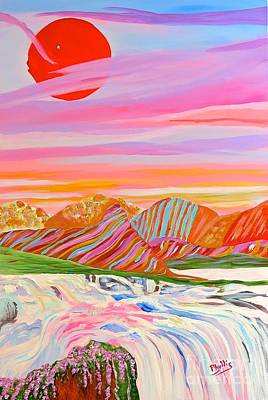 Painting - My Imagination Of China's Vast Rainbow Mountains by Phyllis Kaltenbach