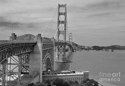 Black And White Flower Photography - Imagination of the Golden Gate in 1937 by Debby Pueschel