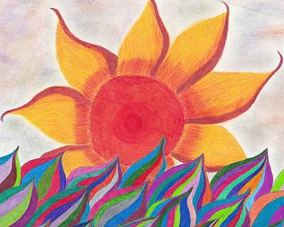 Ocean Sunset Drawing - Imagination's Sun by Laurie Gibson