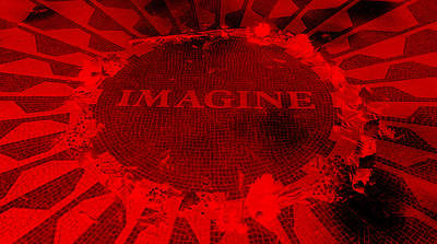 Imagine 2015 Negative Red Art Print by Rob Hans