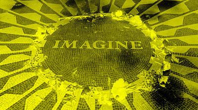 Imagine 2015 Negative Yellow Art Print by Rob Hans