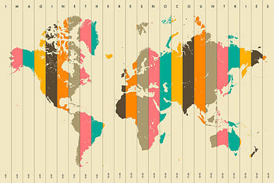 World Map Art Digital Art - Imagine There's No Countries 2 by Jazzberry Blue