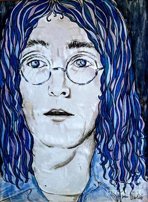 Painting - Imagining John Lennon In Blue 3 by Joan-Violet Stretch