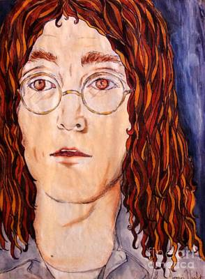 Painting - Imagining John Lennon by Joan-Violet Stretch
