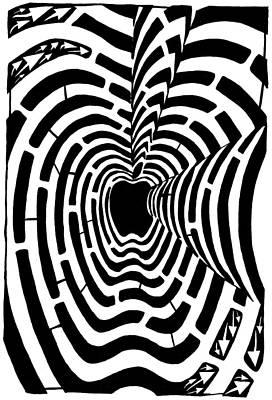 Imaze Drawing - iMaze Apple Ad Maze Idea by Yonatan Frimer Maze Artist
