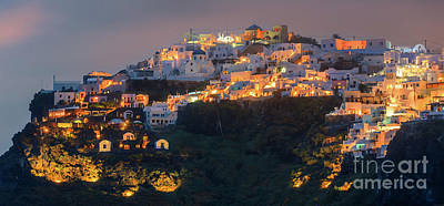 Thera Photograph - Imerovigli After Sunset, Santorini by Henk Meijer Photography