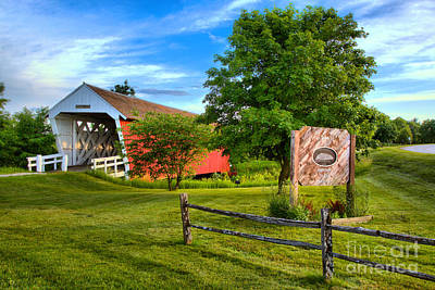 Photograph - Imes Covered Bridge Welcome Sign by Adam Jewell