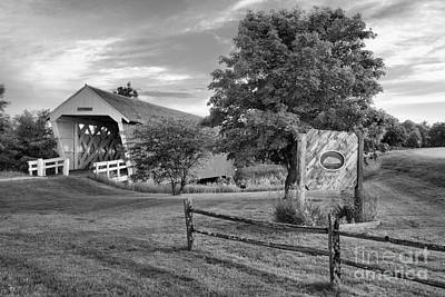 Photograph - Imes Covered Bridge Welcome Sign Black And White by Adam Jewell