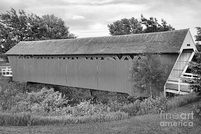Photograph - Imes Red Covered Bridge Black And White by Adam Jewell