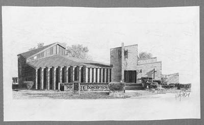 Immaculate Drawing - Immaculate Conception Church by Robb Scott