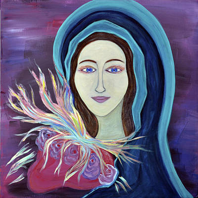 Christian Art . Devotional Art Painting - Immaculate Heart Of Mary Ablaze by Danielle Tayabas