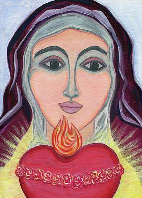 Spiritual Portrait Of Woman Painting - Immaculate Heart Of Mary by Danielle Tayabas