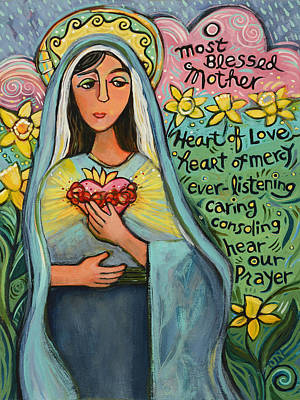 Blue And Green Painting - Immaculate Heart Of Mary by Jen Norton