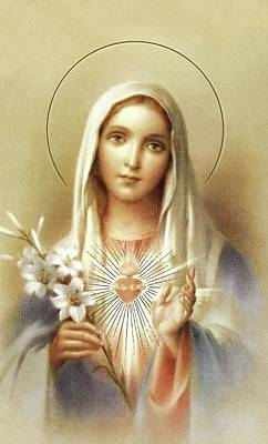 Print featuring the mixed media Immaculate Heart Of Mary by Movie Poster Prints