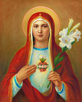 Liturgical Painting - Immaculate Heart Of Mary by Svitozar Nenyuk