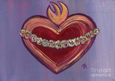 Immaculate Heart Of Mary With Purple Background Original