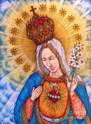 Immaculate Heart Of Virgin Mary Hand-drawn Art Print