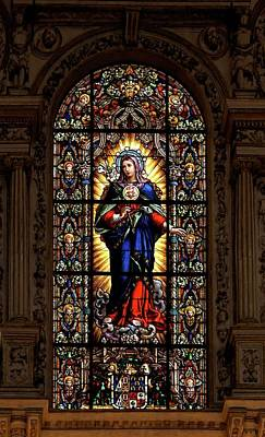 Glass Art - Immaculate Heart Of Virgin Mary by Jebulon
