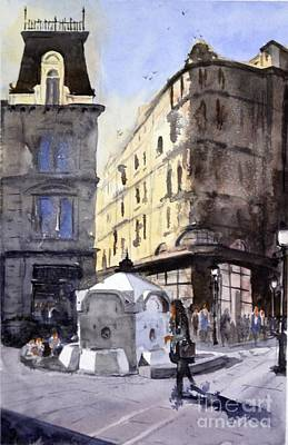 Belgrade Painting - Immense Mans Drinking Fountain - Original Watercolour Cityscape Painting By Nenad Kojic by Nenad Kojic