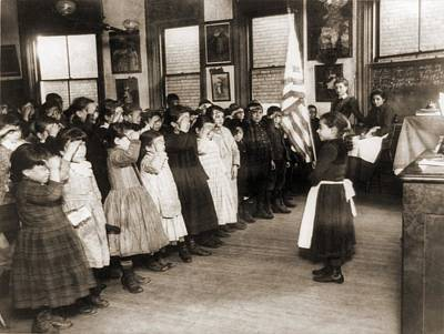1880s Photograph - Immigrant Children Saluting The Flag by Everett
