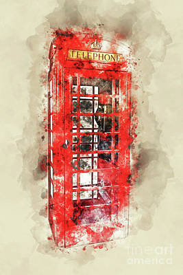 London Phone Booth Photograph - Immobile Phone by Delphimages Photo Creations