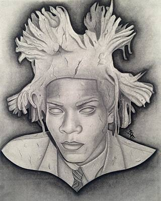 Drawing - Immortalizing In Stone Jean Michel Basquiat Drawing by Angelee Borrero