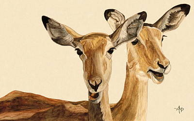 Impalas Watercolor Art Print by Angeles M Pomata