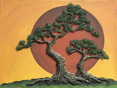 Painting - Impasto - Bonsai With Sun - One by Lori Grimmett