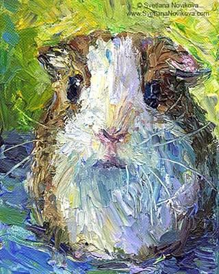 Impasto Impressionistic  Guinea Pig Art Art Print