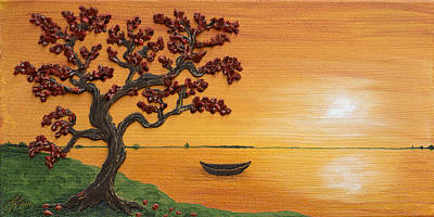 Painting - Impasto Painting - Lakeside Bonsai - One by Lori Grimmett
