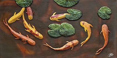 Painting - Impasto Painting - School Of Koi by Lori Grimmett