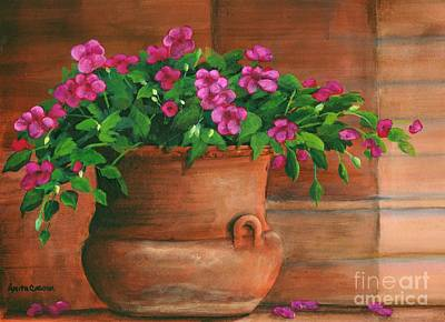 Painting - Impatiens In Terra Cotta by Anita Carden