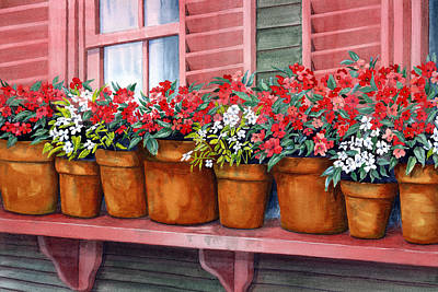 Window Box Painting - Impatiens by Karen Wright