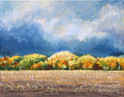 Impending Storm Over The Harvested Field Original by Hilary England