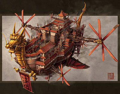 Science Fiction Mixed Media - Imperial Airship by James Ng