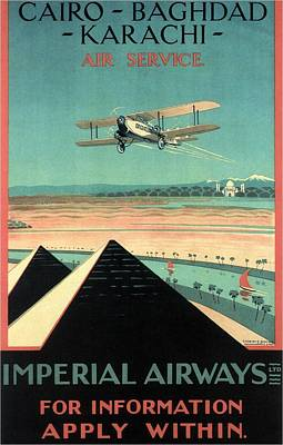 Airplane Mixed Media - Imperial Airways - Cairo, Baghdad, Karachi Air Service - Retro Travel Poster - Vintage Poster by Studio Grafiikka